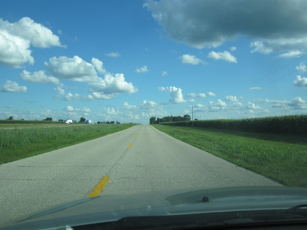 This is Route 66. I-55 is on the left. Corn is on the right.