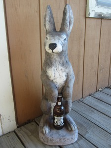 "The rabbit statue is holding a route beer. Get it? ""Route"" beer!"