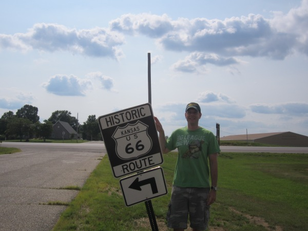 Even the Route 66 road sign was falling over.