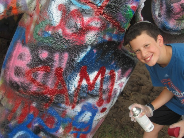 Sam at Cadillac Ranch
