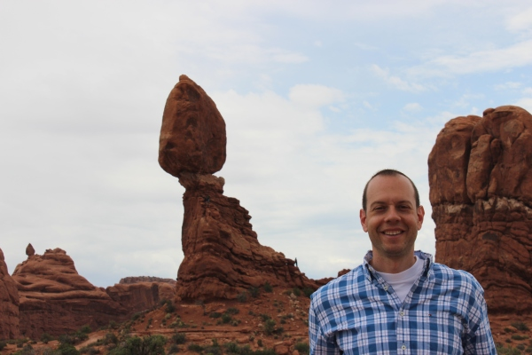 The rock behind me is called Balanced Rock