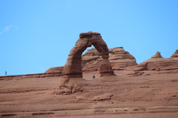 Here's Delicate Arch for real. Note the hiker directly beneath the arch to give you an idea of scale.
