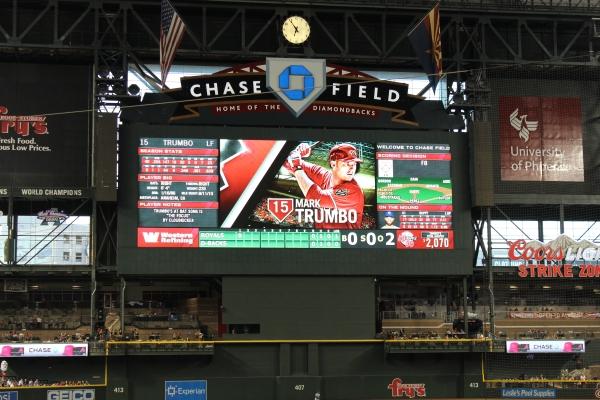 Chase Field scoreboard